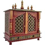 TAM Creatio Small Wooden Pooja Mandir |Indian| |Hindu| |Decoration| |Puja| |Cabinet| |Temple| |Bhagwan| |Stand| |Mandapam| |W
