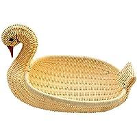 WINOMO 籐バスケット 籐かご フルーツバスケット 工芸品 写真小物 手織り 小物入れ 白鳥の形 (ナチュラルカラー)