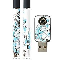 スマコレ プルームテック ploom tech バッテリー スティック 専用スキンシール USB充電器 カバー ケース 保護 フィルム タバコ クール 花 フラワー 水色 イラスト 007922