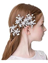髪飾り 結婚式 ヘッドドレス 発表会 ヘッドドレス 3個 髪飾り ヘッドアクセサリー ウエディング(ホワイト)