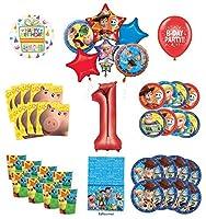 トイストーリー 1歳の誕生日パーティー用品 16人のゲストデコレーションキット ウッディー バズ・ライトイヤー フレンズ バルーンブーケ付き