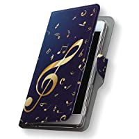 Xperia Z3 SO-01G ケース カバー 手帳型 スマコレ レザー 革 so-01g スマホケース スマホカバー エクスペリア その他 クール ユニーク 003384 Sony ソニー docomo ドコモ 音楽 音符 青 d-so01g-003384-nb