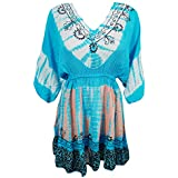Mogul Interior Womens Tie Dye Summer Beach Cover Up Rayon Sundress One Size S/M/L