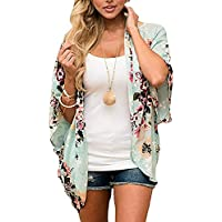JOELLYUS Womens Kimono 3/4 Sleeve Cover Up Floral Chiffon Cardigan Capes
