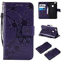 HUAWEI P10 Lite ケース CUSKING 手帳型 ケース ストラップ付き かわいい 財布 カバー カードポケット付き ファーウェイ P10 Lite マジックアレイ ケース - パープル