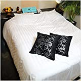 Hotel Bed Sommelier Shop 角型クッション 中身あり 50×50 タオル生地 ブラック×シルバー アジアン風 No.16