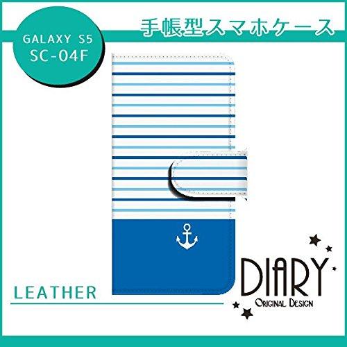 au GALAXY S5(SCL23) イカリ×ストライプ横3 ブルー2 スマホケース ブック 手帳型 カバー ql542-s1150(ブルー)