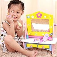 ままごと遊びをする化粧台の木質の子供の化粧する台湾王女のシミュレーションの化粧台の子供のおもちゃ