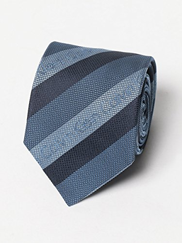 (カルバンクライン) Calvin Klein シルク100% ロゴ ストライプ ネクタイ [【CKM60615】] ブルー/- [並行輸入品]