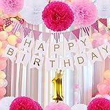 誕生日 飾りセット 1歳 バースデーデコレーションセット ペーパーフラワー フラッグガーランド バースデーパーティー 飾り付けセット 記念撮影用に (ピンク)