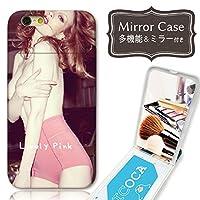 301-sanmaruichi- iPhoneSE ケース iPhone5s 5 ケース ミラーケース 鏡付き ミラー付き カード収納 おしゃれ セクシー ガール ランジェリー 赤ピンク B