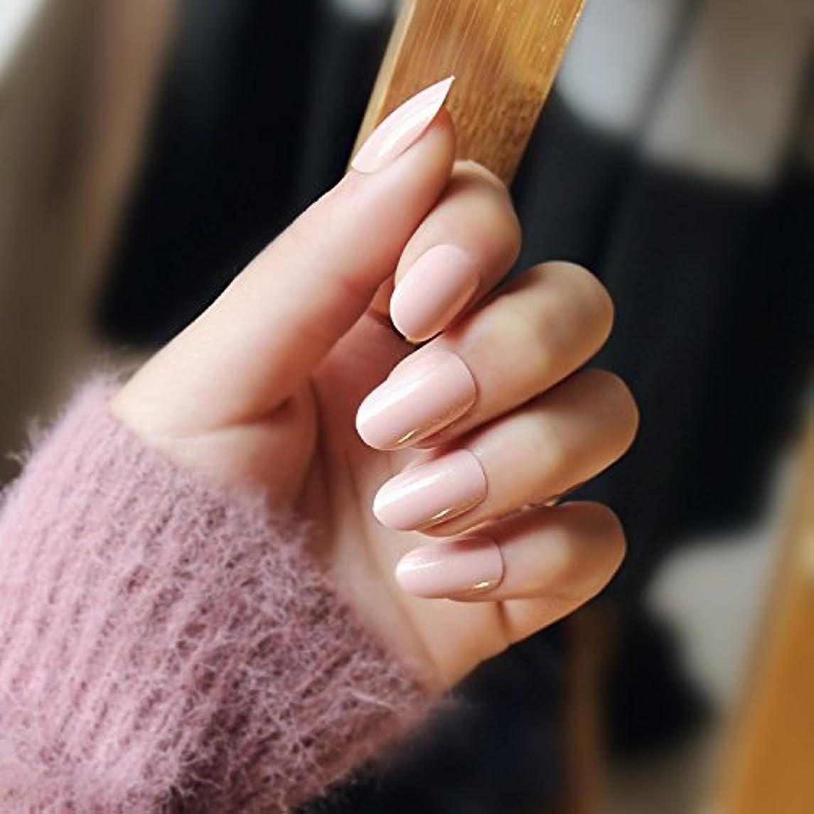 禁止新着銛24枚入 可愛い優雅ネイル パールピュアカラーネイル 純色ネイルチップ 薄金の粉を含む エレガントな気質