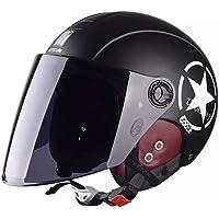 ZHORT バイクヘルメット ハーフヘルメット ジェットヘルメット 半帽 半キャップ ヘルメット 防寒イヤーカバー付き フリーサイズ 54-61cm(マットブラック*ダークスモークロングシールド)