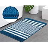 Thick Chenille Striped Pattern Bath Rugs for Bathroom Non Slip - Soft Plush Shaggy Bath Mats for Bathroom Floor, Indoor Mats Rugs for Entryway (Blue)