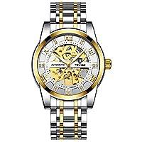 機械式腕時計 防水 ラグジュアリー メンズ 腕時計 夜光針 ステンレススチール スケルトン 自動巻き腕時計 Golden white