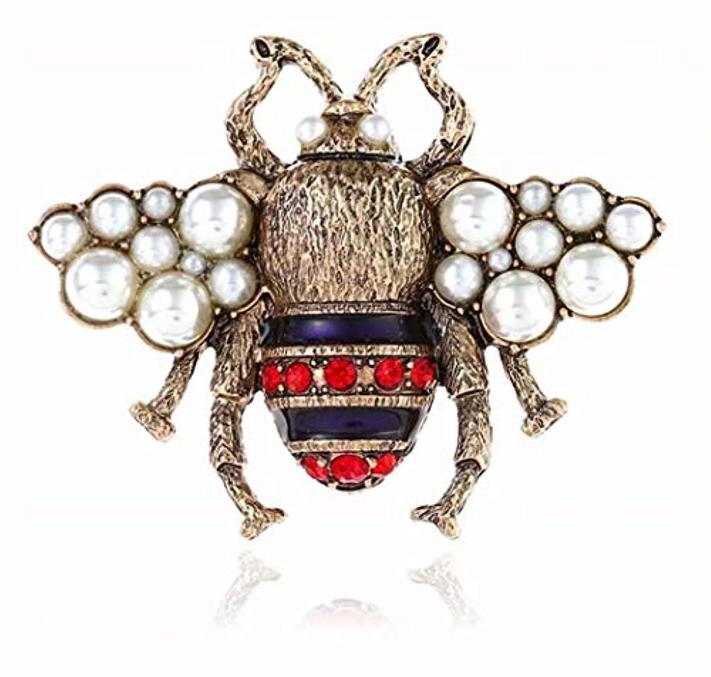 その間省略する発言する七里の香 ヴィンテージ メタル クリスタル ラインストーン 昆虫蜂蜜ブローチ ブローチピン