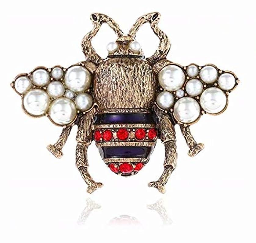 私たちステンレスラリーベルモント七里の香 ヴィンテージ メタル クリスタル ラインストーン 昆虫蜂蜜ブローチ ブローチピン