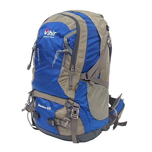 Vihir 登山リュック アウトドアバックパック 40L 大容量 軽量 防水 高通気性 レインカバー付き 多機能 男女兼用