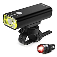 LANYI 自転車ライト テールライト付 自転車ライト 懐中電灯 USB充電式400ルーメン LED IPX3防水 150mを照らす明るいライト 懐中電灯 日本国内品質保証