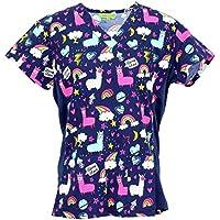 Green Town Scrubs Women's Medical Nursing Stretch Top Patterned Multi Pocket Uniform Shirt
