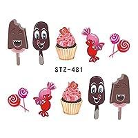 1ピースネイルステッカー夏の水転写デカールフルーツ/アイスクリーム/漫画デザイン一時的な入れ墨スライダーのヒントSASTZ474-488 STZ481