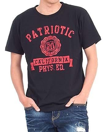 (トップイズム) TopIsm メンズTシャツ ティーシャツ アメカジ カレッジプリント 半袖 M 26-ブラック