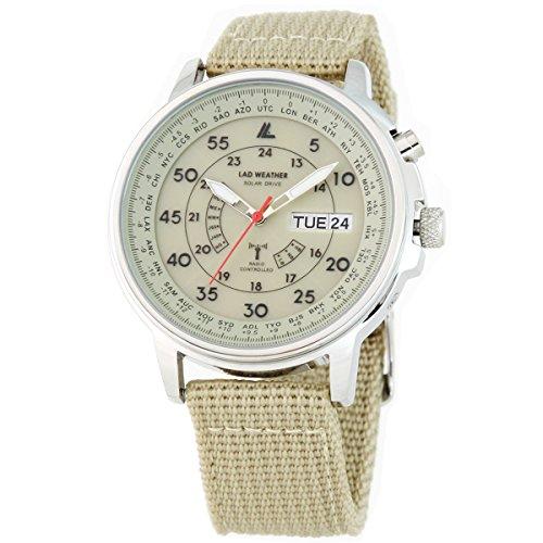 [LAD WEATHER]腕時計 ソーラー電波時計 100m防水 ミリタリー時計 ベージュ lad017