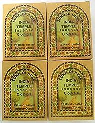 Song of India Templeコーンお香、4 x 25円錐パック、100 Cones合計