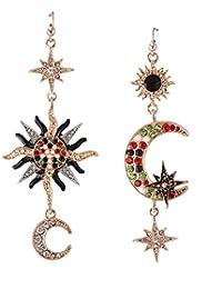RaiFu スタッド ファンシー ロマンチック 月と太陽 人気ピアス 左右非対称 美的 復古 個性テクスチャ ファッション レディース