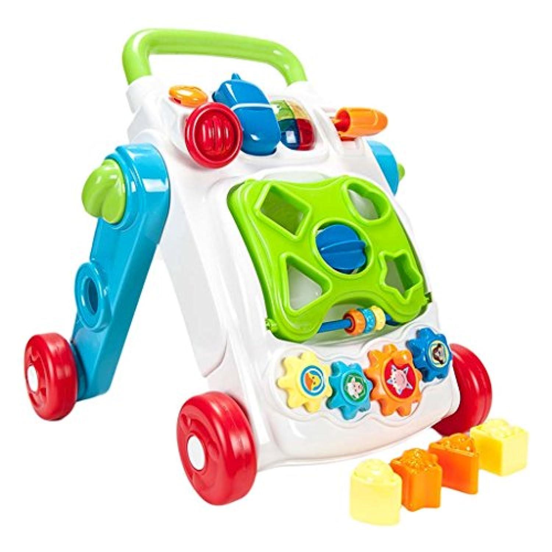 Baby Walkers 2イン1として使用Push Alongおもちゃ、最初手順1 – 3歳の、おもちゃLearning withサウンドとアクセサリー