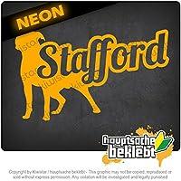 アメリカのスタッフォード、名前付き American Stafford with name 17cm x 10cm 15色 - ネオン+クロム! ステッカービニールオートバイ