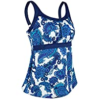 JINXUEER Women's Plus Size Swimsuit Floral Tankini Top Vintage Swimwear