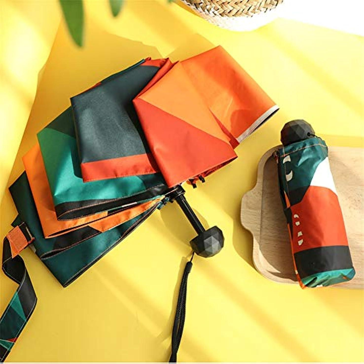 九時四十五分ファンネルウェブスパイダーすみませんパラソル, コンパクトミニトラベル傘日焼け止めアンチ UV 5 折りたたみ傘軽量防風ポケットレイン傘,orange