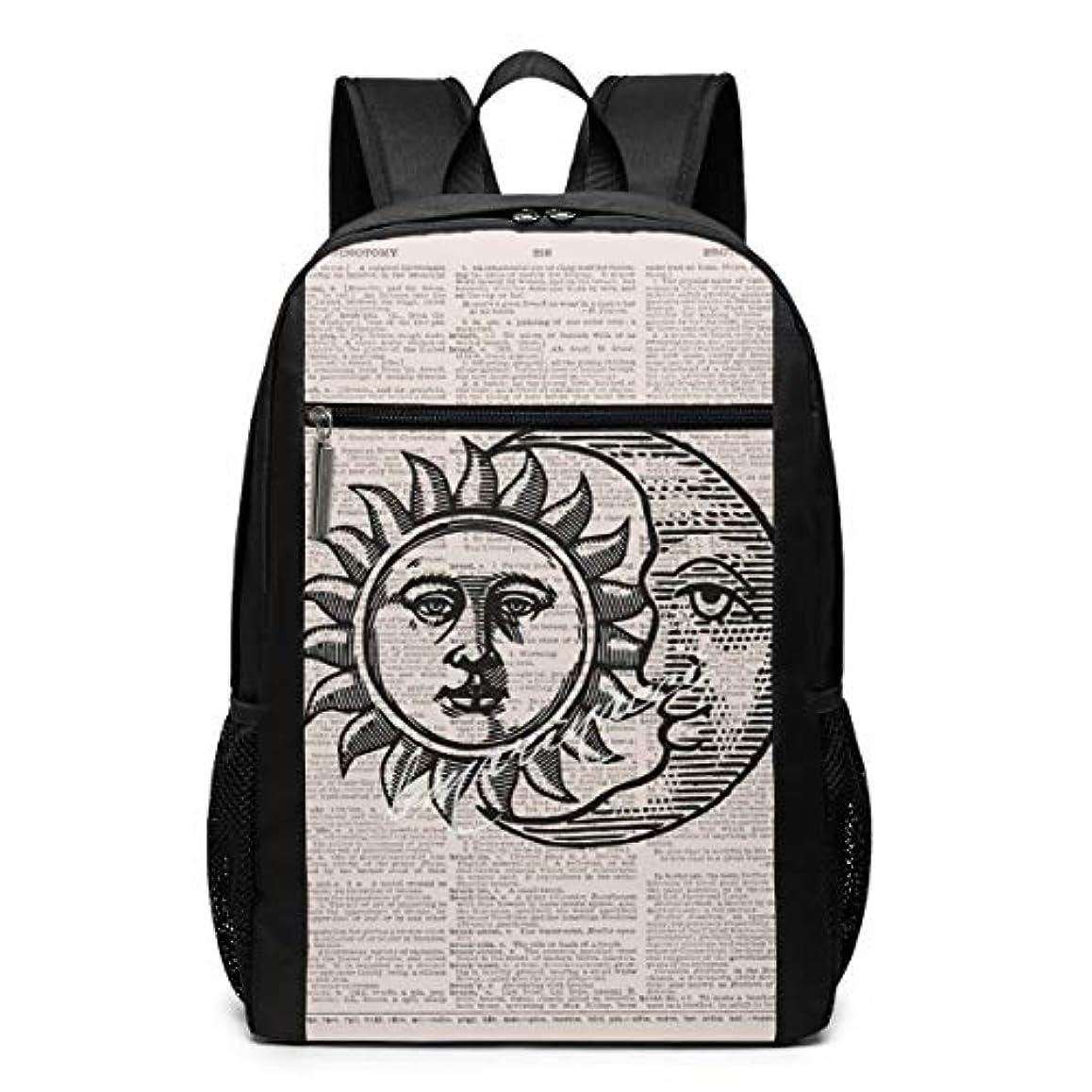 シンプルさ静脈シンプルさMy Life リュックサック 月と太陽 メンズ バックパック リ ュック デイパック 大 おしゃれ 出張/旅行/通勤/アウトドアに適用 大容量 多機能 人気 学生 高校生 (17インチ)