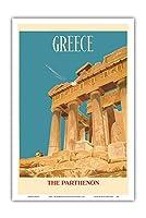 ギリシャ - パルテノン神殿 - アテナ神殿 - ビンテージな世界旅行のポスター によって作成された ディック・ニーガス・アンド・フィリップ・シャーランド c.1954 - アートポスター - 31cm x 46cm