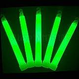 "Glow Sticks Bulk Wholesale 25 6"" Industrial Grade Green Light Sticks. Bright Color Glow 12-14 Hrs Safety Glow Stick with 3-ye"