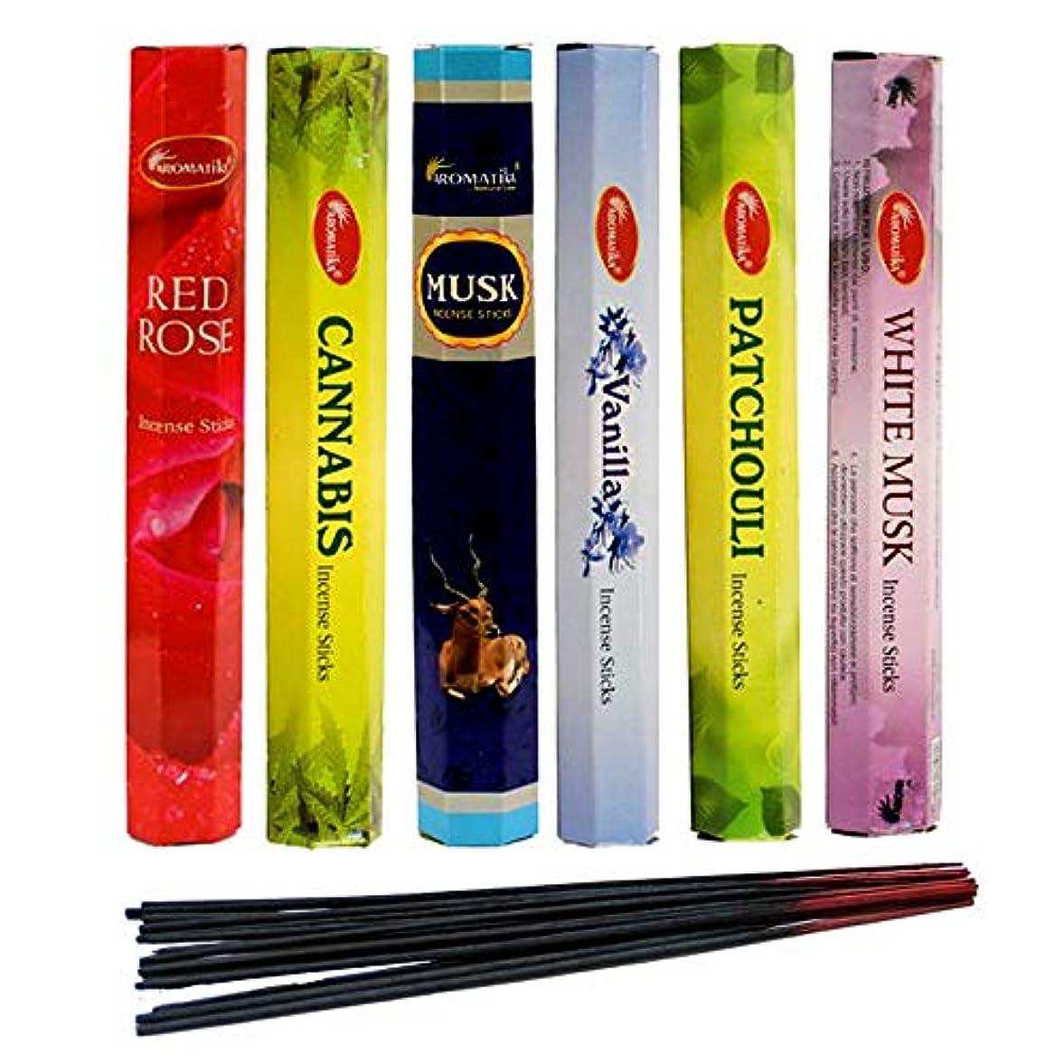 裁判所水っぽいを通してaromatika Incense Sticks Best Sellers Hexa Flora 6ボックスX 20スティック、コンボパック、合計120 Sticks (120 Sticks)