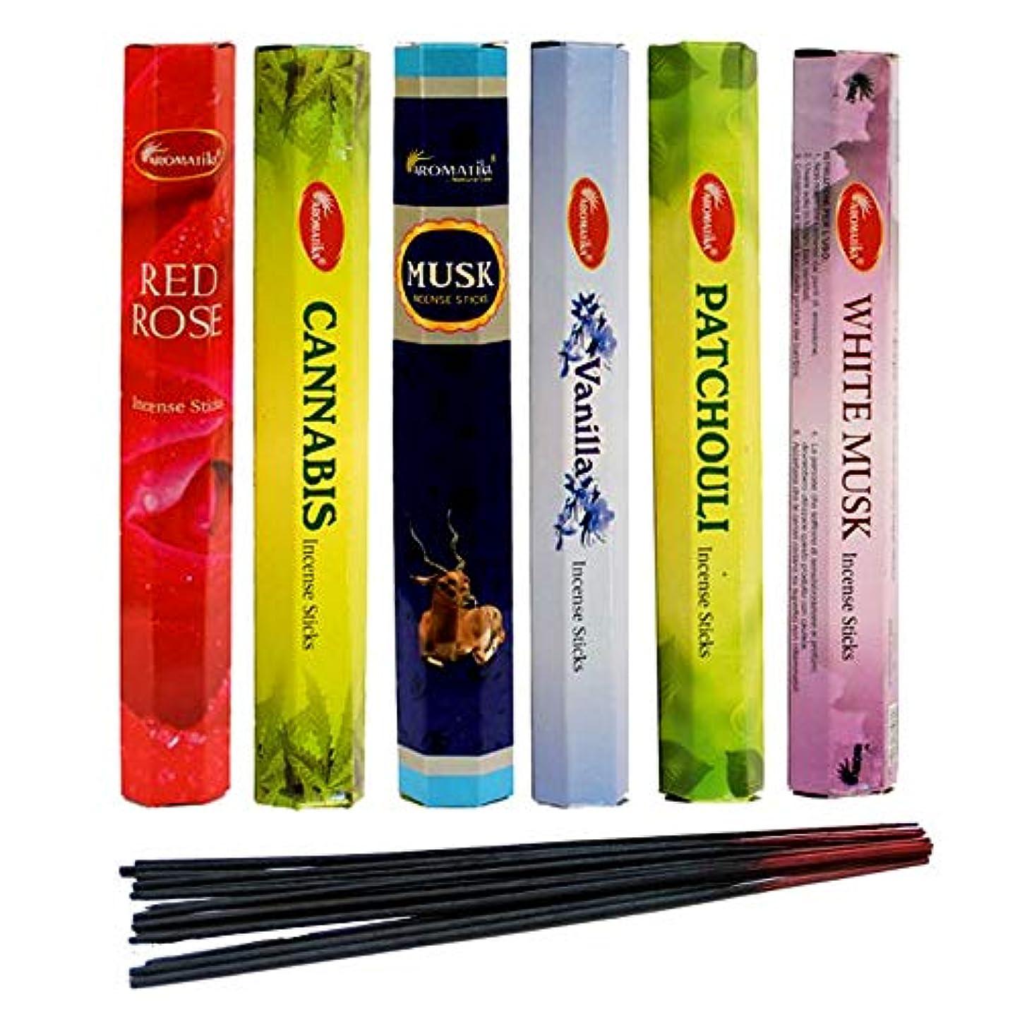 抜本的な在庫差し迫ったaromatika Incense Sticks Best Sellers Hexa Flora 6ボックスX 20スティック、コンボパック、合計120 Sticks (120 Sticks)