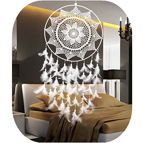 Large Dream Catcher, White Big Handmade Decorative Hanging Ornaments Lace Dreamcatcher for Wall Bedroom Party~ 15.7