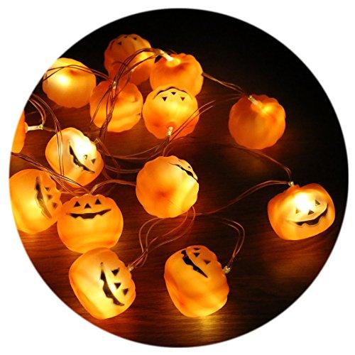 A-SZCXTOP ハロウィーン装飾 カボチャ/頭蓋骨ライトストリング 3.8m 16球LED 電池式 DIY かぼちゃ 頭蓋骨 長寿命 省エネ 雑貨 パーティー、誕生日会、仮面舞踏会、店舗、レストラン、お庭やベランダに