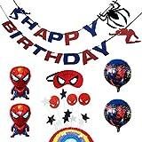 スパイダーマン 誕生日 飾り付け 男の子 キャラクター 英雄 スーパーヒーロー マスク ケーキトッパー バルーン 風船 happy birthday バナー ガーランド 7枚セット