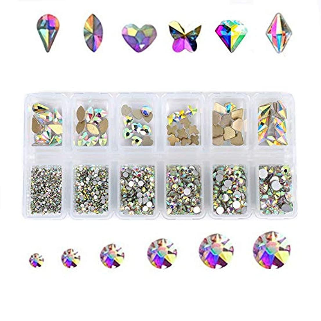 見る人嫉妬自然Kingsie ネイル ラインストーン AB色 ガラス製 ファットバック クリスタル 3dネイルパーツ デコ素材 大粒 小粒 ミックスサイズ&形状 ケース入り