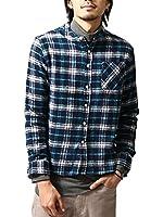 (ジップファイブ) ZIP FIVE ネルシャツ/メンズ/長袖/フランネル/バンドカラー/スタンドカラー/フランネル/チェックシャツ/ノーカラー/ファッション D