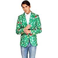 OFFSTREAM Ugly Christmas Jackets for Men in Different Prints - Xmas Sweater Suit Include Jacket & Tie