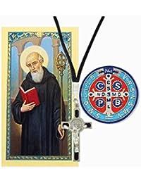 Saint Benedictブラック十字架BraidedブラックシルクコードHC Blessed by Pope Francis &アイロンパッチ