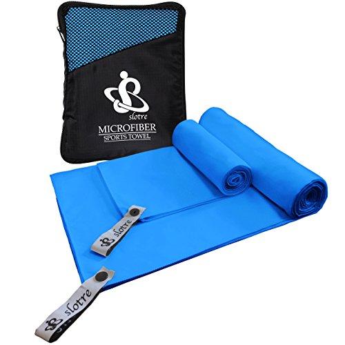 slotre 速乾タオル スポーツタオル バスタオル 2枚セット 超吸水 ポケット収納 ネクタイ機能 (ブルー)