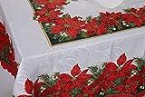 テーブルクロス クリスマス 北欧 ポインセチア ヒイラギ パーティー Happy Xmas (210×150cm, レッド(透かし模様))