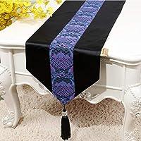 家族の装飾のためのサテンテーブルランナー明るいシルクと滑らかな織物パーティーテーブルランナータッセル(複数のサイズ)と芸術的なパターンの手刺繍装飾,A_13*59inch