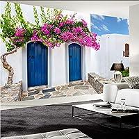 Hwhz 地中海スタイルの写真の壁紙3Dギリシャの建物の壁画レストランカフェ寝室の背景壁の壁画-400X280Cm