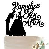 (ハッピーココ) happykoko ケーキトッパー ウエディング ディズニー シンデレラ アクリル ケーキピック プリンセス (ブラック シルエット)